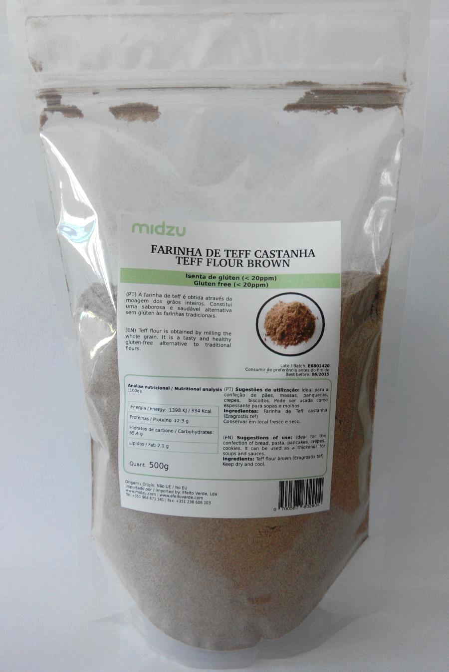 Brown Teff flour Midzu 500 g