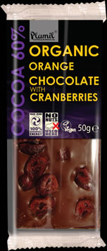 Organic orange chocolate with cranberries 50g - gluten free