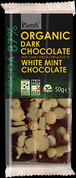 Organic dark chocolate with white mint 50g - gluten free
