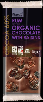 Organic rum and raisin chocolate 50g - gluten free