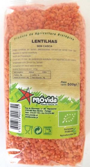 Organic husked orange lentils 500g