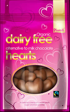 Organic Fairtrade Alternative to Milk Chocolate Hearts 125g - Gluten-free