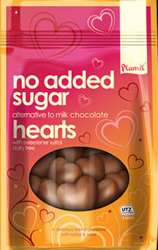 No Added Sugar Alternative to Milk Chocolate Hearts 125g - Gluten-free